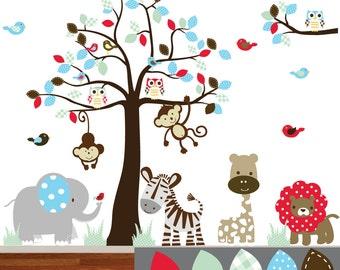 Jungle Safari Tree Monkeys Elephant Giraffe Vinyl Wall Art Decals Nursery Kids Boys