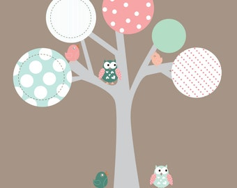 Modern Nursery Circle Tree Vinyl Wall Decal Set with Owls and Birds