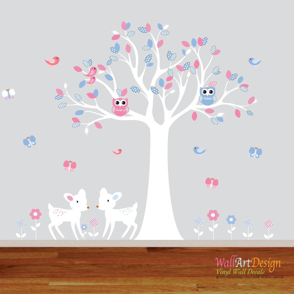 boy girl twin nursery wall decal tree pink blue sticker zoom