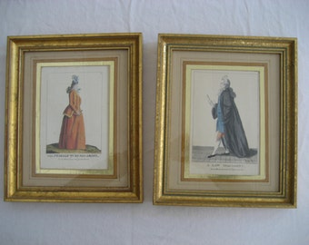 """pair of humorous antique framed caricature etching prints of a lawyer and a woman wearing """"macaroni"""" wigs"""