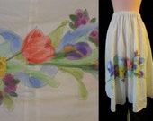 1950s 1960s White Circle Skirt with Watercolor Floral Design -  Small Medium Large