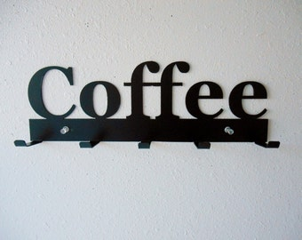 Coffee Rack- Metal Wall Hanging- Keys- Oven Mitts-
