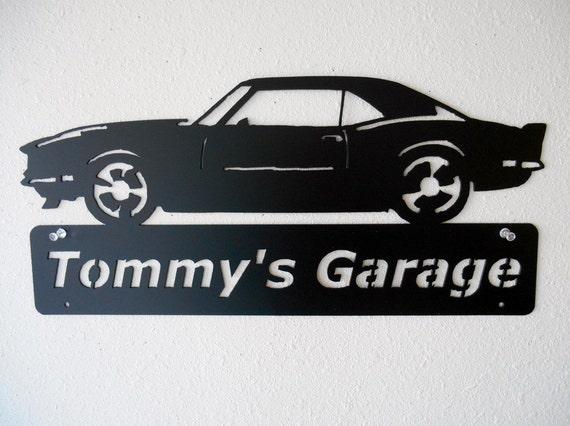 1968 Camaro -Metal Car Sign - Personalized - Metal Wall Art - Garage Sign - Satin Black - Man Cave- Car Art