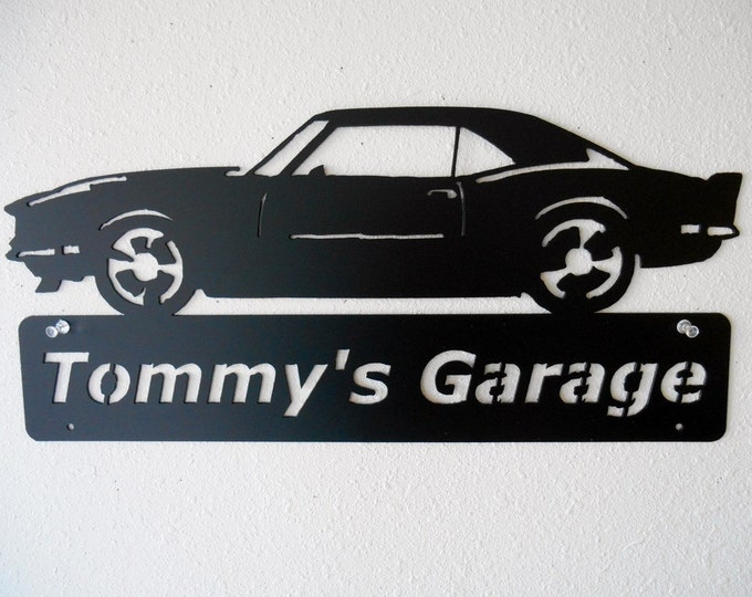 1968 Camaro -Metal Car Sign - Personalized - Metal Wall Art - Garage Sign - Satin Black - Man Cave- Car Art