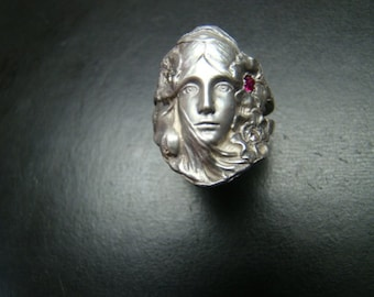 Beautifully detailed Art Nouveau style Sterling Silver ring with diamonds and a ruby.