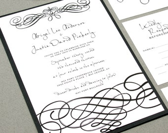Black and White Wedding Invitation Suite, Handwritten Wedding Invitations Pocketfold, Elegant Wedding Invitation Set, Swirl Wedding Invites