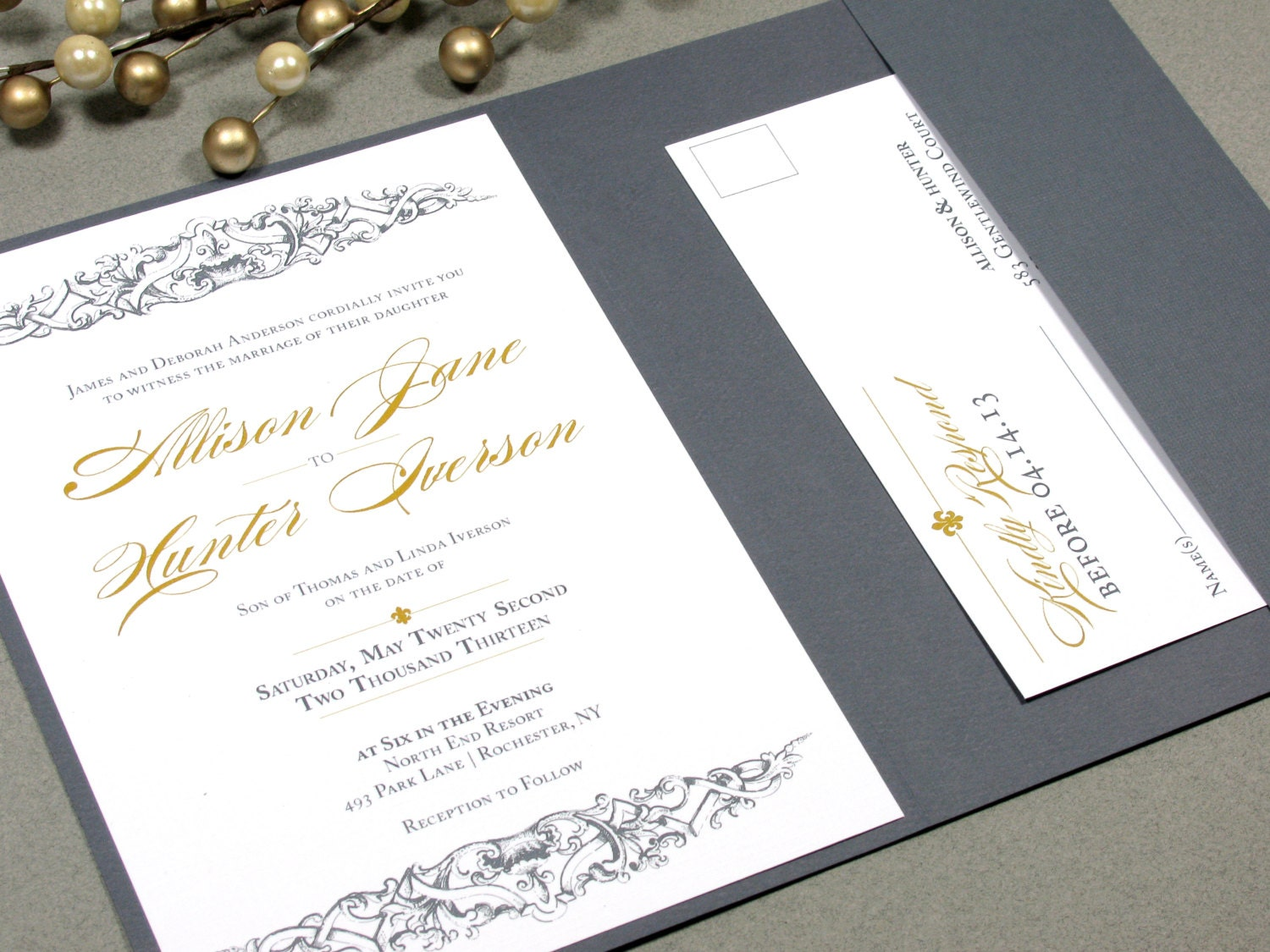 french baroque fleur de lis wedding invitation set by runkpock