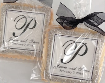 Wedding custom cookies elegant black and silver black tie wedding favors