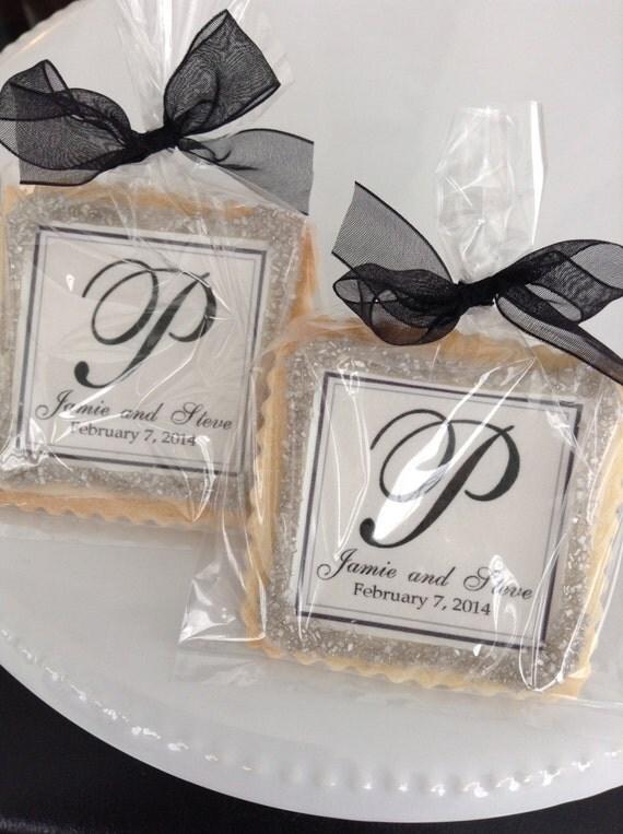 Wedding custom cookies elegant black and silver black tie wedding favors