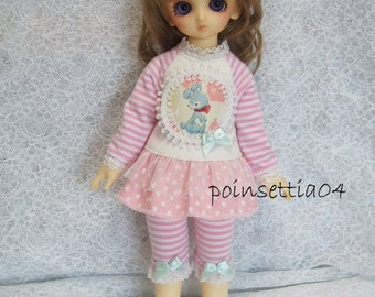 Super Dollfie Yo SD Littlefee Baby Pink Polka Dot One Piece Set - Blue Rabbit
