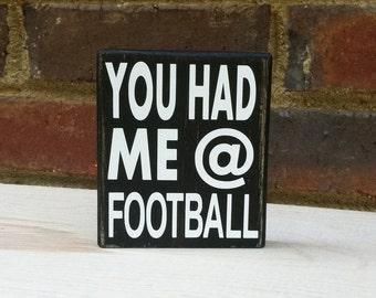 Football  Distressed Mini Sign Wood Block Home Fall Decor Tailgate