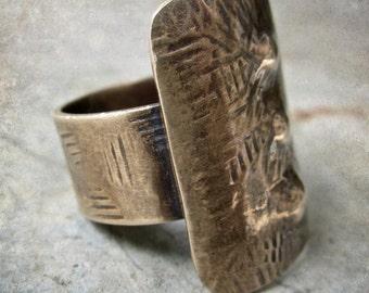 Shield  Bronze artisan ring rustic talisman boho ethnic metalwork jewlery