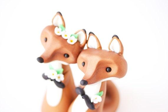 Red Fox Wedding Cake Topper by Bonjour Poupette