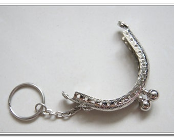 6cm silver coin purse frame with key ring