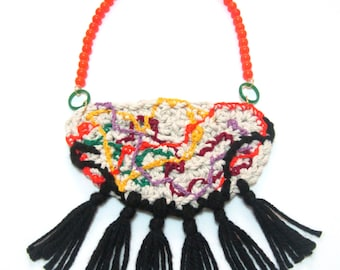 Mexico - Textile Fiber Knitted Cotton Wool Black Crocheted Beads Statement Necklace