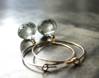 Statement Earrings, Jewelry, Mint Green Amethyst Earrings, Gemstone Earrings, Gold, Accessories, Gift for Her, 14k Gold Filled Hoops