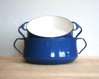 Danish Modern Dansk Kobenstyle Cobalt Blue Enamel Two-Handled Pots, Set of Two