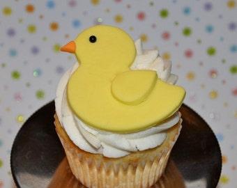 Rubber Ducky Fondant Cupcake, Cake or Cookie Toppers- Edible- 1 DOZEN