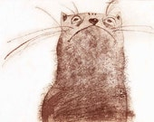 Etching / limited edition original etching (printmaking / graphic art) / original print / riginal art / cat art / cat etching - 'The Cat'