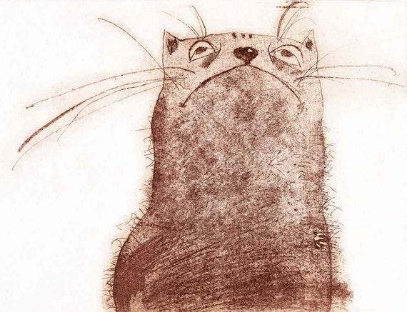 Etching / limited edition original etching (printmaking / graphic art) / original print / riginal art / cat art / cat etching - 'The Cat'