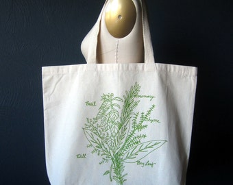 Screen Printed Recycled Cotton Tote Bag - Eco Friendly Grocery Tote - Canvas Tote Bag - Large Tote - Herb Bunch Book Bag - Project Bag