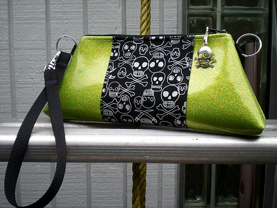Sold Reserved For Kelly Do Not Buy...Gothic Skull Purse in Lime Green and Black, Skull Handbag, Rockabilly Purse
