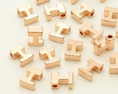 IN-242-RG / 2 Pcs - Initial Tiny Pendant, Alphabet, Capital letter, Upper case, I, Rose Gold Plated over Brass / 5mm x 7mm
