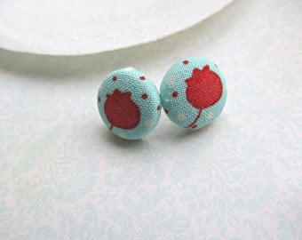 Red and Aqua Fabric Button Sterling Silver Post earrings, Flower Post earrings