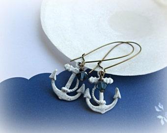 Nautical Anchor earrings, White Wash Anchor earrings