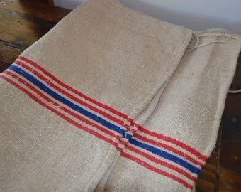 Vintage linen grain bag - east European - feed sack - red and blue stripe - antique textile
