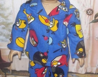 """Angry Birds flannel pajamas fits 18"""" dolls American girl doll"""