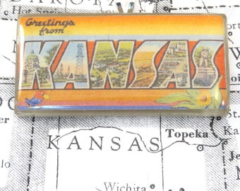 Greetings from KANSAS Vintage Large Letter Postcard Pendant