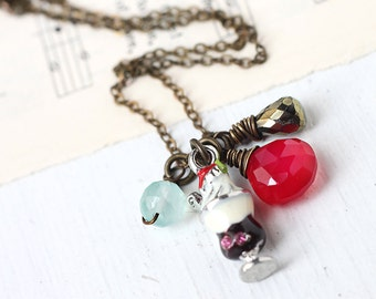 Red, Black and Blue Gemstone Charm Necklace - Sundae Pewter Charm with Chalcedony and Pyrite on Antique Brass Necklace