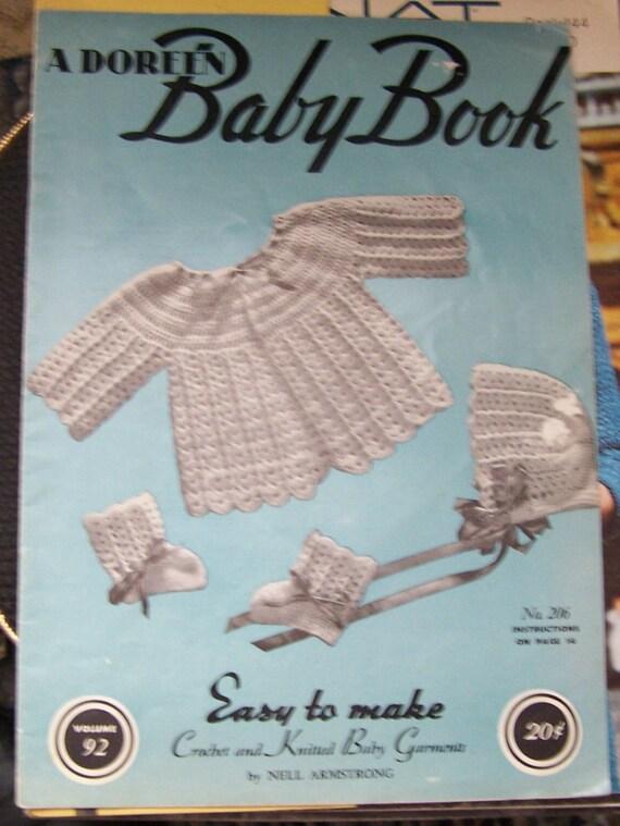 Vintage Baby Knitting Pattern Books : Vintage 1945 A Doreen Baby Book Crochet Knitting Patterns Baby