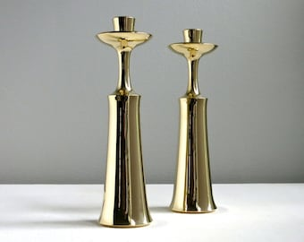 Pair of Vintage Dansk Brass Candlesticks - Jens Quistgaard, 1960s Mid Century Modern Danish Decor