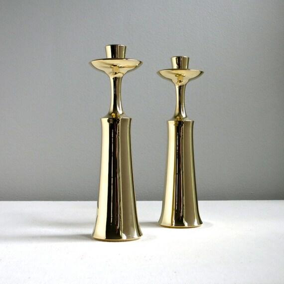 Pair of Vintage Dansk Brass Candlesticks - Jens Quistgaard, 1960s Mid Century Modern Danish Decor