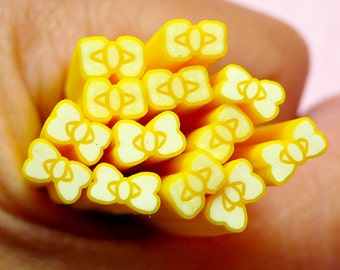 Yellow Bow / Bowtie Polymer Clay Cane Fimo Cane Nail Art Nail Decoration Scrapbooking Earrings Making Miniature Sweets Deco CB17