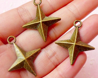 Shuriken Ninja Stars Throwing Darts Charms (3pcs) (25mm x 30mm / Antique Bronze / 2 Sided) Pendant Bracelet Earrings Zipper Pulls CHM539