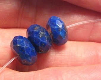 faceted Rondelle Lapis beads ...    3 pcs ... 10 x 6 mm ... 10 x 5 mm...   a4543