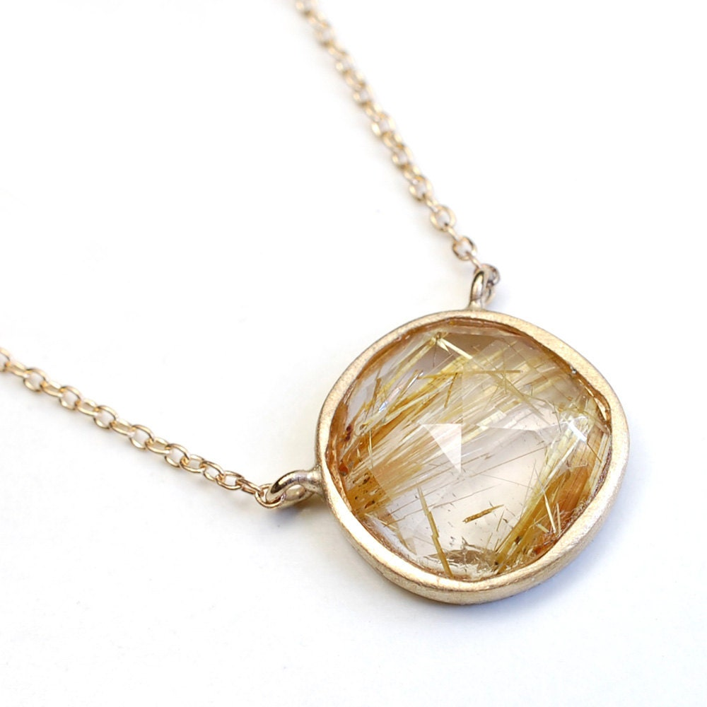 Rose cut necklace rutilated quartz necklace gold necklace for Golden rutilated quartz jewelry