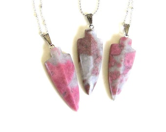 pink rhodonite necklace / rhodonite arrowhead necklace / tribal arrow necklace on long chain