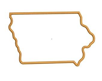 Iowa State Applique Embroidery Design in 4 Sizes
