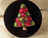 Vintage 1950s Red and Green Rivoli Christmas Tree Pin