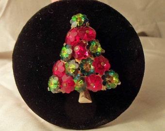 Vintage 1950s Red and Green Rivoli Rhinestone Christmas Tree Pin