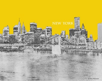 New York Art, Brooklyn, Line Art, Graphic Print, New York Skyline Art , NYC Skyline Art