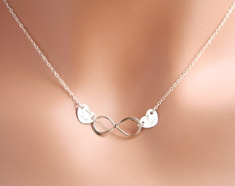 Personalized Infinity two hearts necklace all Sterling Silver, monogram charm, everyday wear,Christmas, birth day, Mother's Day gift for her