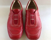 Tod's Red Leather Slip On Shoes