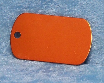 Tag, orange anodized aluminum, military style, FREE custom engraving