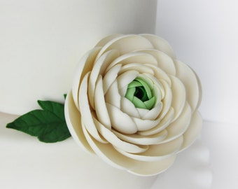 "edible sugar ranunculus 3"" white"