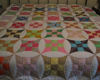 Quilt Hand Stitched and Quilted Double Bed Great Colors